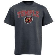 Mens Charcoal Temple Owls Arch Over Logo T-Shirt