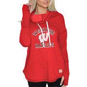 Women's Original Retro Brand Red Wisconsin Badgers Triblend Funnel Neck Sweatshirt