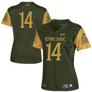 Women's Under Armour #14 Green Notre Dame Fighting Irish 2016 Shamrock Series Replica Football Jersey