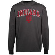 Men's New Agenda Charcoal Indiana Hoosiers Midsize Arch Over Mascot Long Sleeve T-Shirt
