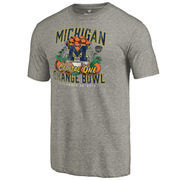 Men's Fanatics Branded Heather Gray Michigan Wolverines 2016 Orange Bowl Bound Prime Tri-Blend T-Shirt