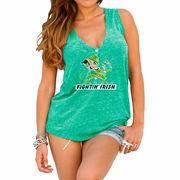 Womens Notre Dame Fighting Irish Original Retro Brand Green Relaxed Henley Tank Top