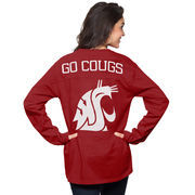 Women's Crimson Washington State Cougars The Big Shirt Oversized Long Sleeve T-Shirt