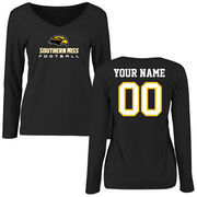 Women's Black Southern Miss Golden Eagles Personalized Football Slim Fit Long Sleeve T-Shirt
