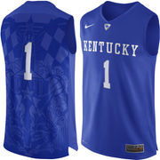 Men's Nike #1 Royal Kentucky Wildcats Authentic Basketball Jersey