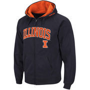 Men's Stadium Athletic Navy Illinois Fighting Illini Arch & Logo Full Zip Hoodie