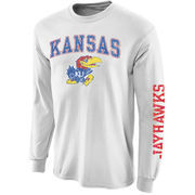 Men's New Agenda White Kansas Jayhawks Distressed Arch & Logo Long Sleeve T-Shirt