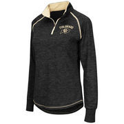 Women's Colosseum Black Colorado Buffaloes Bikram 1/4 Zip Long Sleeve Jacket