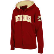 Women's Stadium Athletic Garnet Boston College Eagles Arched Name Full-Zip Hoodie