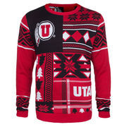 Men's Red Utah Utes Patches Ugly Sweater