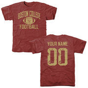 Men's Cardinal Boston College Eagles Personalized Distressed Football Tri-Blend T-Shirt