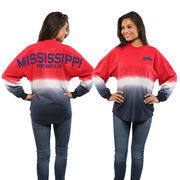 Women's Red Ole Miss Rebels Ombre Long Sleeve Dip-Dyed Spirit Jersey