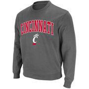 Men's Stadium Athletic Charcoal Cincinnati Bearcats Arch & Logo Crew Pullover Sweatshirt