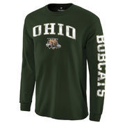 Men's Green Ohio Bobcats Distressed Arch Over Logo Long Sleeve Hit T-Shirt