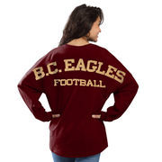 Women's Maroon Boston College Eagles Football Sweeper Long Sleeve Oversized Top