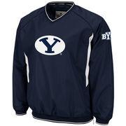 Mens BYU Cougars Navy Blue Hardball V-Neck Pullover Jacket
