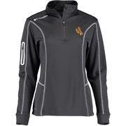 Women's Columbia Charcoal Wyoming Cowboys Golf Omni-Shade Shotgun 1/4 Zip Jacket