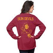 Women's Maroon Arizona State Sun Devils The Big Shirt Oversized Long Sleeve T-Shirt