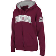 Women's Stadium Athletic Maroon Montana Grizzlies Arched Name Full-Zip Hoodie