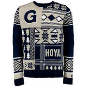 Men's Navy Georgetown Hoyas Patches Ugly Sweater