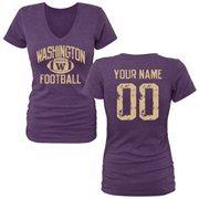 Women's Purple Washington Huskies Personalized Distressed Football Tri-Blend V-Neck T-Shirt