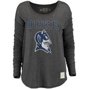 Women's Original Retro Brand Charcoal Duke Blue Devils Relaxed Ribbed Long Sleeve T-Shirt