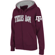 Women's Stadium Athletic Maroon Texas A&M Aggies Arched Name Full-Zip Hoodie