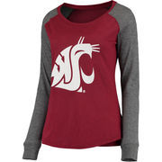 Women's Garnet/Gray Washington State Cougars Preppy Elbow Patch Slub Long Sleeve T-Shirt