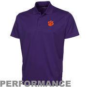 Clemson Tigers Omega Solid Mesh Tech Performance Polo - Purple