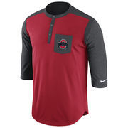 Men's Nike Scarlet Ohio State Buckeyes Touch Henley 3/4-Sleeve Performance T-Shirt