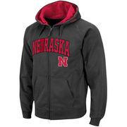 Men's Stadium Athletic Charcoal Nebraska Cornhuskers Arch & Logo Full Zip Hoodie