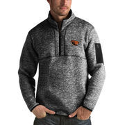 Men's Antigua Heathered Black Oregon State Beavers Fortune 1/2-Zip Pullover Sweater