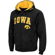 Men's Stadium Athletic Black Iowa Hawkeyes Arch & Logo Full Zip Hoodie