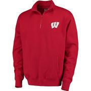 Men's Stadium Athletic Red Wisconsin Badgers Logo Quarter-Zip Sweatshirt