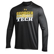 Mens Georgia Tech Yellow Jackets Under Armour Heather Gray Slant Long Sleeve Performance T-Shirt