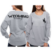 Women's Wyoming Cowboys Gray Pom Pom Jersey Oversized Long Sleeve T-Shirt