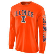 Men's Fanatics Branded Orange Illinois Fighting Illini Distressed Arch Over Logo Long Sleeve Hit T-Shirt