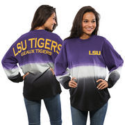 Women's Purple LSU Tigers Ombre Long Sleeve Dip-Dyed Spirit Jersey