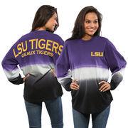 Women's Purple LSU Tigers Ombre Long Sleeve Dip-Dyed Spirit Jersey