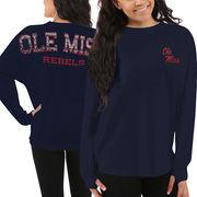Women's Ole Miss Rebels Navy Blue Aztec Sweeper Long Sleeve Oversized Top