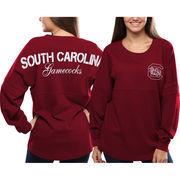 Women's South Carolina Gamecocks Red Pom Pom Jersey Oversized Long Sleeve T-Shirt
