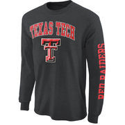 Mens Texas Tech Red Raiders Charcoal Arch & Logo Long Sleeve T-Shirt