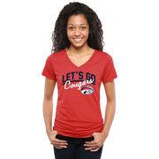 Women's Red Houston Cougars Let's Go Tri-Blend V-Neck T-Shirt