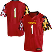Men's Under Armour Red #1 Maryland Terrapins Replica Football Jersey