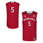 Men's adidas Scarlet Nebraska Cornhuskers March Madness #5 Replica Basketball Jersey