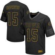 Men's Colosseum #15 Black Iowa Hawkeyes Blackout Football Jersey