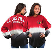 Women's Red Louisville Cardinals Ombre Long Sleeve Dip-Dyed Spirit Jersey