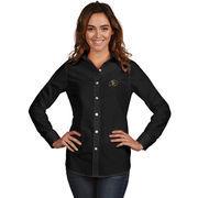Women's Antigua Black Colorado Buffaloes Dynasty Woven Long Sleeve Button-Up Shirt