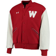 Men's Under Armour Red Wisconsin Badgers Iconic Varsity Full-Button Jacket