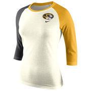 Women's Nike Natural Missouri Tigers Strong Side Tri-Blend Raglan T-Shirt